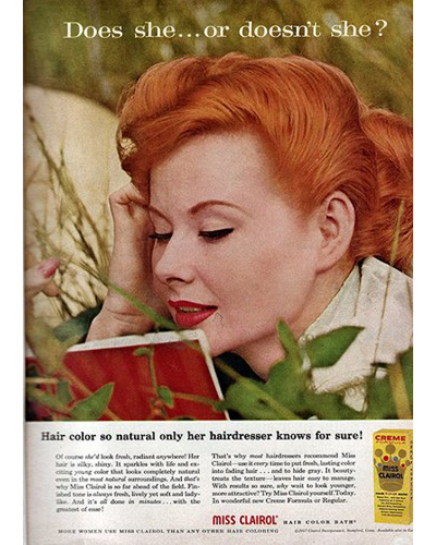 """18. Clairol, """"Does she... or doesn't she?"""" 1957"""