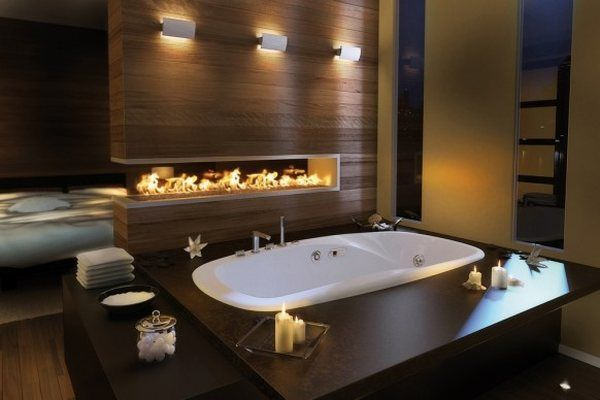 Traditional Beautiful Bathroom Design Ideas With Fire Place