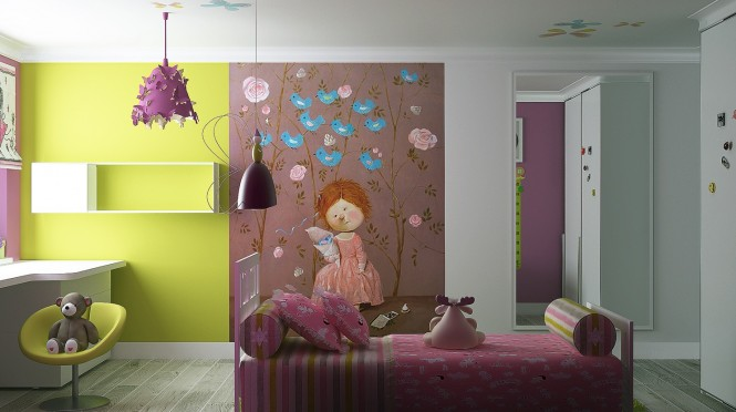 Colorful Girls Room Wall Mural 665x372