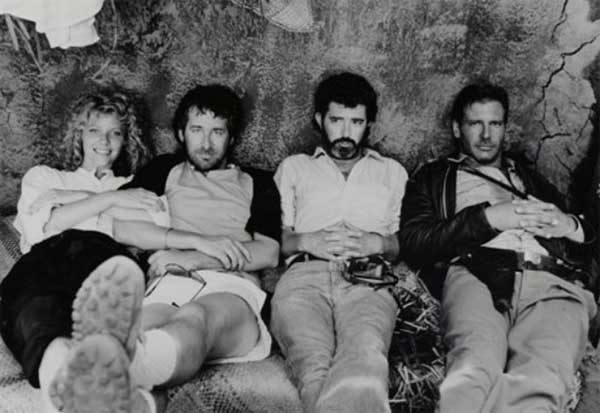 Kate Capshaw Steven Spielberg George Lucas And Harrison Ford During The Filming Of Indiana Jones And The Temple Of Doom
