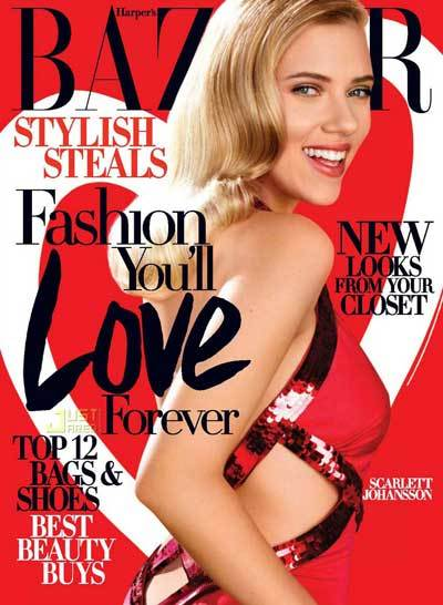 Scarlett Johansson Harpers Bazaar February 2009 Wearing Aroberto Cavalli Dress