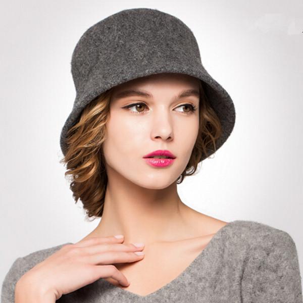 Plian Wool Coche Hat Women Fashion Winter Bucket Hats18953