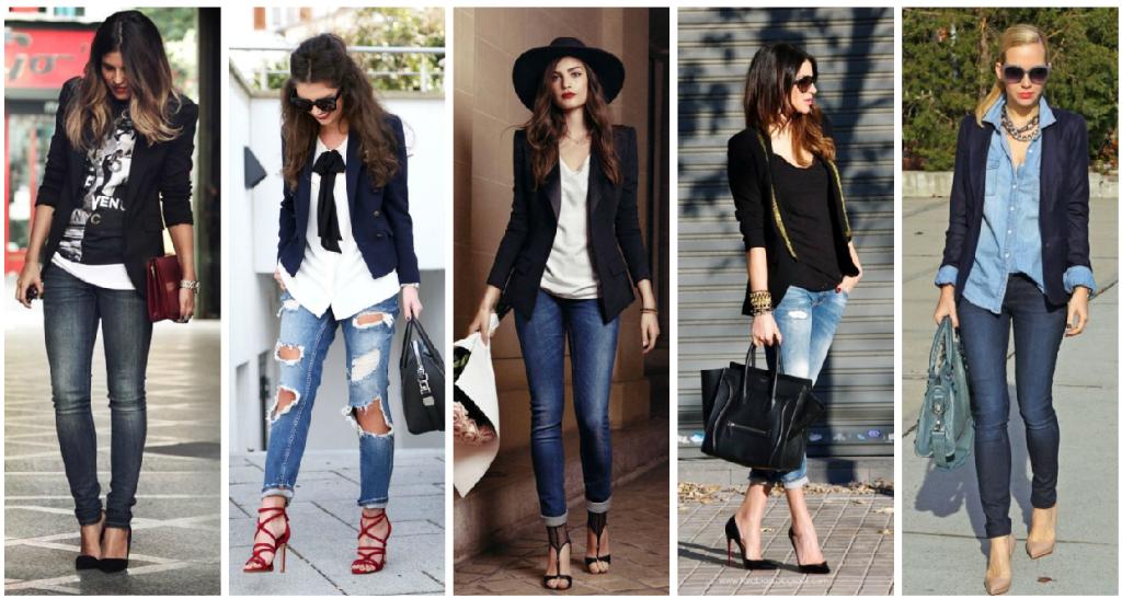 Blazer obscuro + skinny jeans