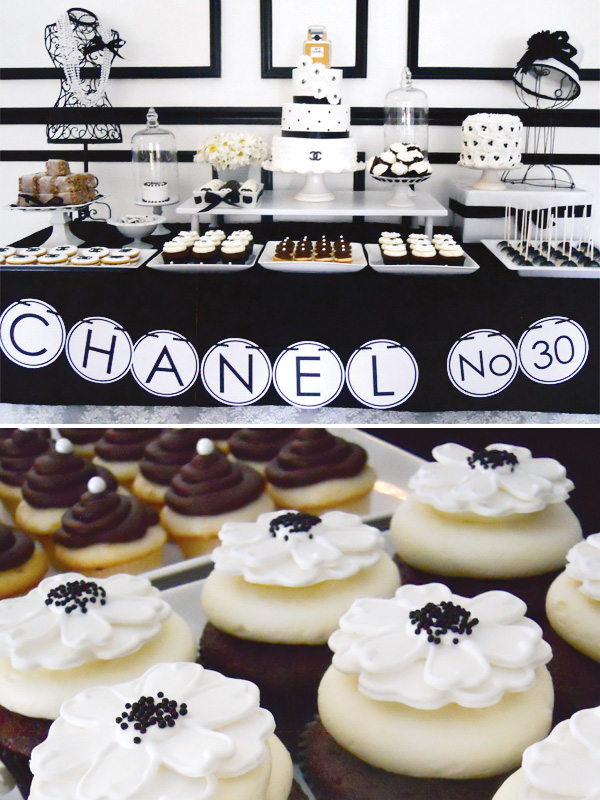 Black White Chanel Dessert Table Cupcakes