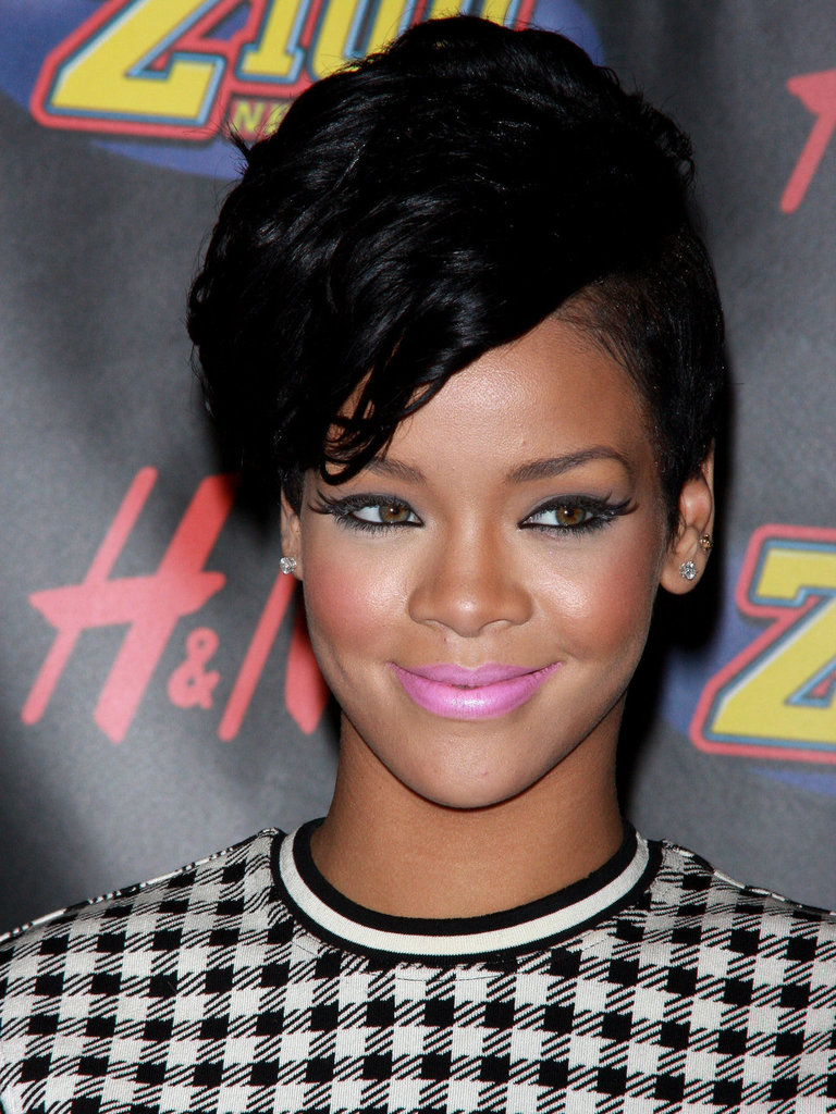Rihanna Pink Lips Edgy Hairsty