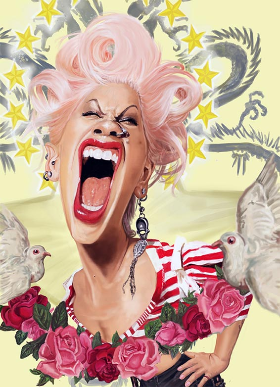 Pink Caricature By Rich Conley