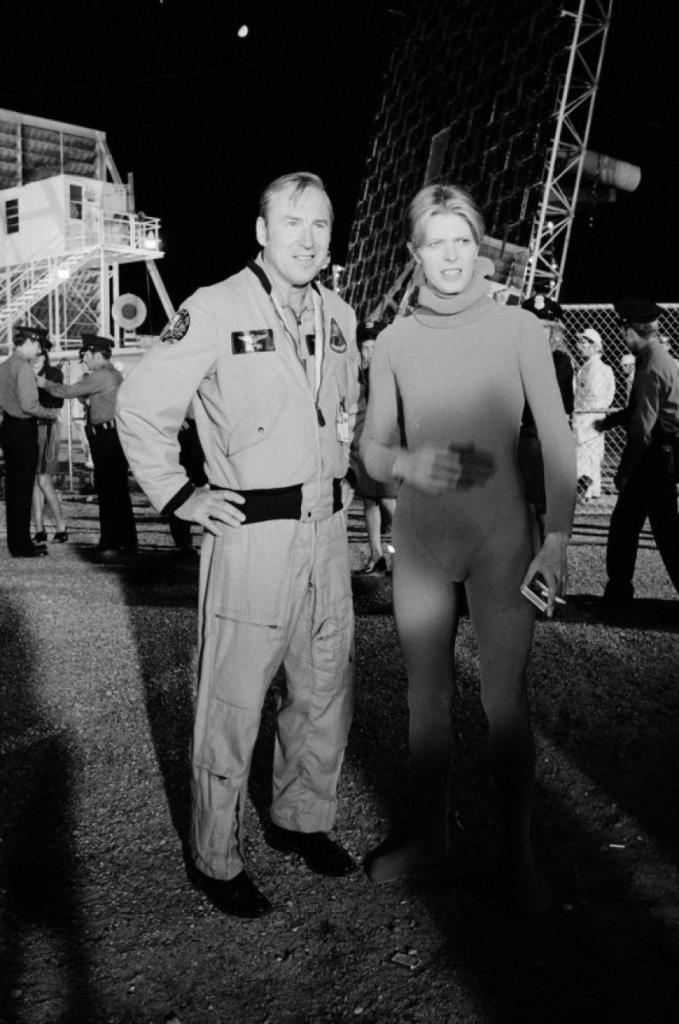 Capt Jim Lovell And David Bowie On The Set Of The Man Who Fell To Earth 1975