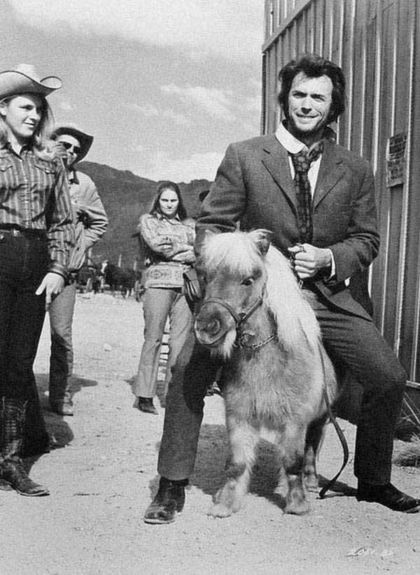 Clint Eastwood Riding A Miniature Horse On The Set Of Joe Kidd