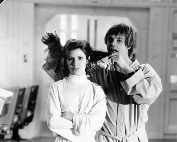 Carrie Fisher And Mark Hamill On The Set Of The Empire Strikes Back