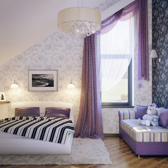 Lilac White Black Girls Room 665x663
