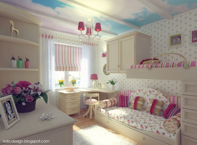 Pink White Blue Girls Room 665x492