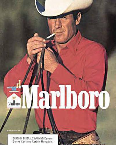 """16.Malboro, """"The malboro man"""".  Leo Burnett Co., 1955."""