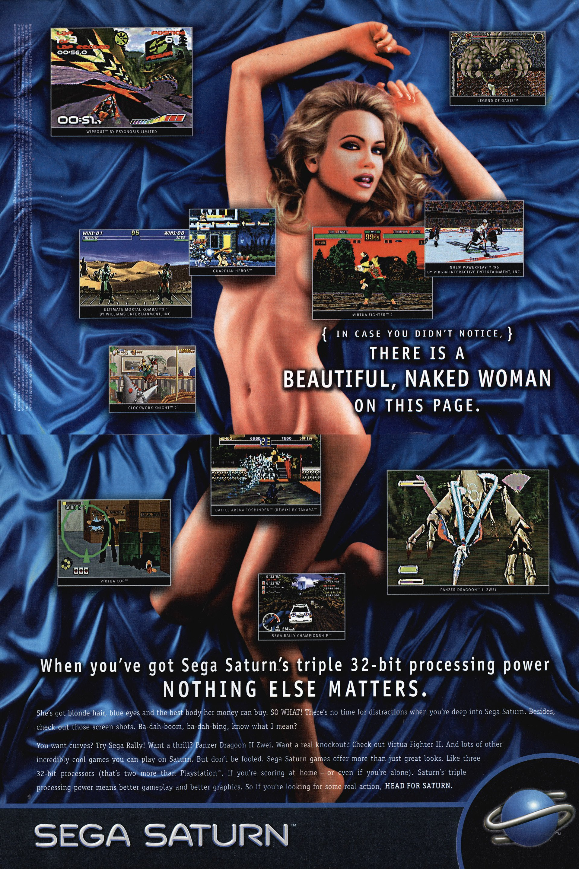 Sega Saturn System Ad Naked Chick