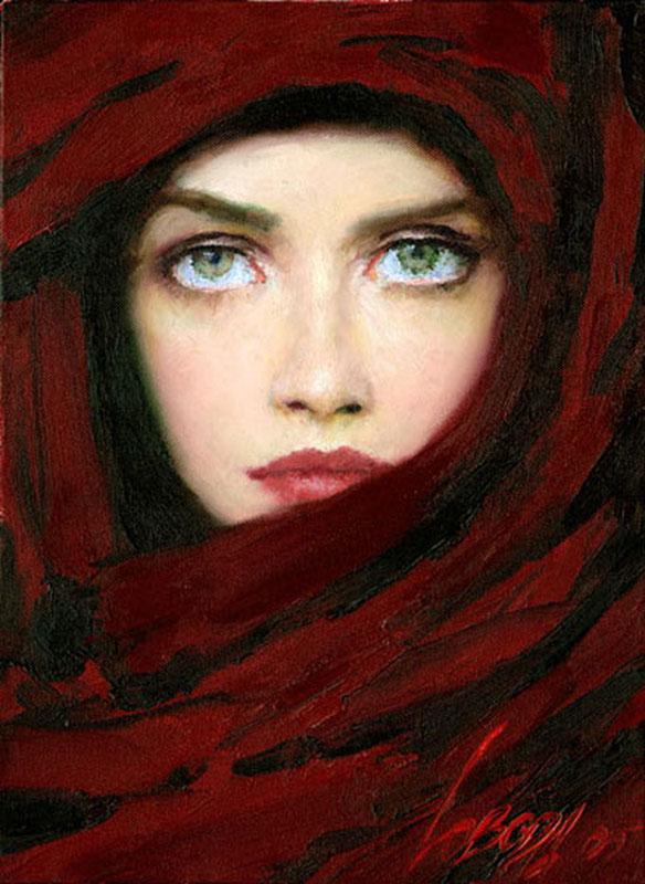 Lady In Red Taras Loboda 1961 Ukrainian Portrait Painter Tutt Art 11