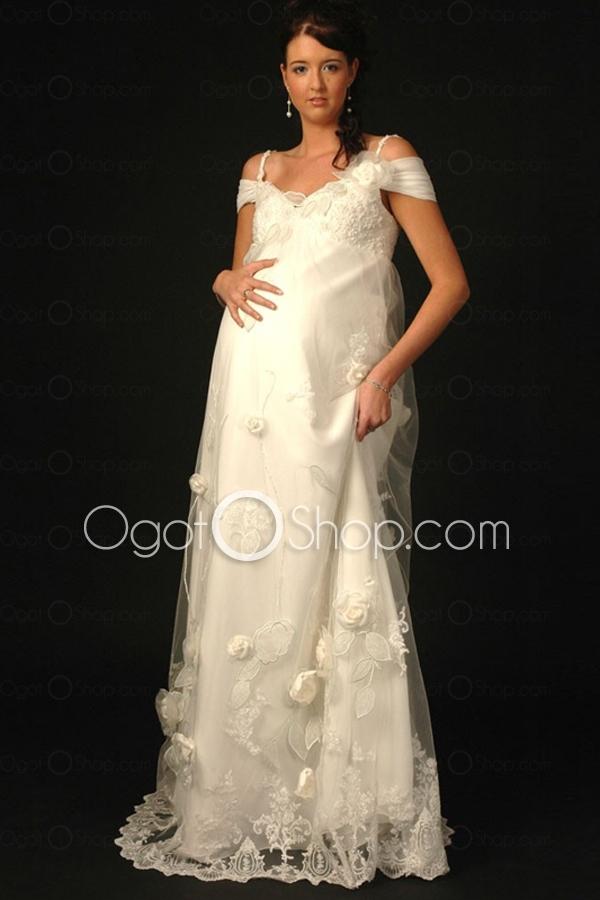 High End Floor Length Lace Chiffon Off Shoulder Maternity Wedding Dress Mt0009