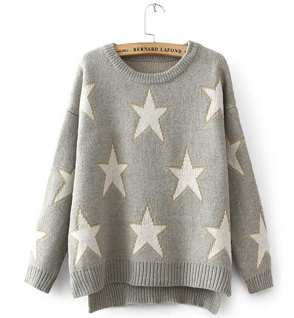 Mujeres Sueter Nuevo Dobladillo Asimetrico Estrellas Impreso Sweaters Mujeres De Jersey De Punto Otono Abrigo De