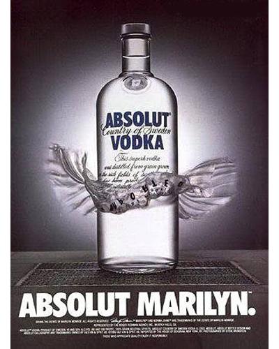"10.Absolut Vodka ""The absolut bottle"" (Absolut Marilyn) 1981"