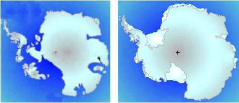 La Antártida sin hielo (izda) y con hielo (dcha)