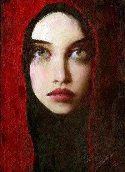 Lady In Red Taras Loboda 1961 Ukrainian Portrait Painter Tutt Art 2