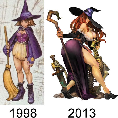 Original and final design for Dragon's Crown Sorceress