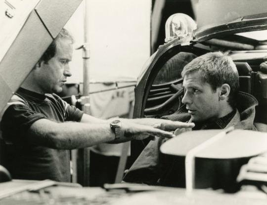 Ridley Scott And Harrison Ford On The Set Of Blade Runner 1982