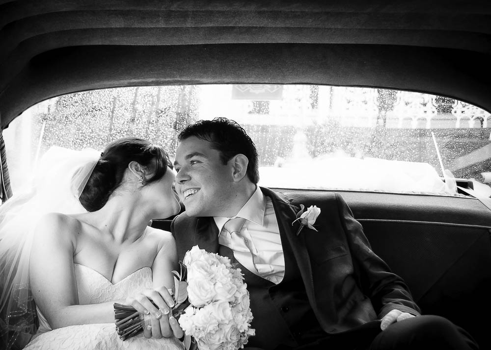 Bride Groom Car Rain