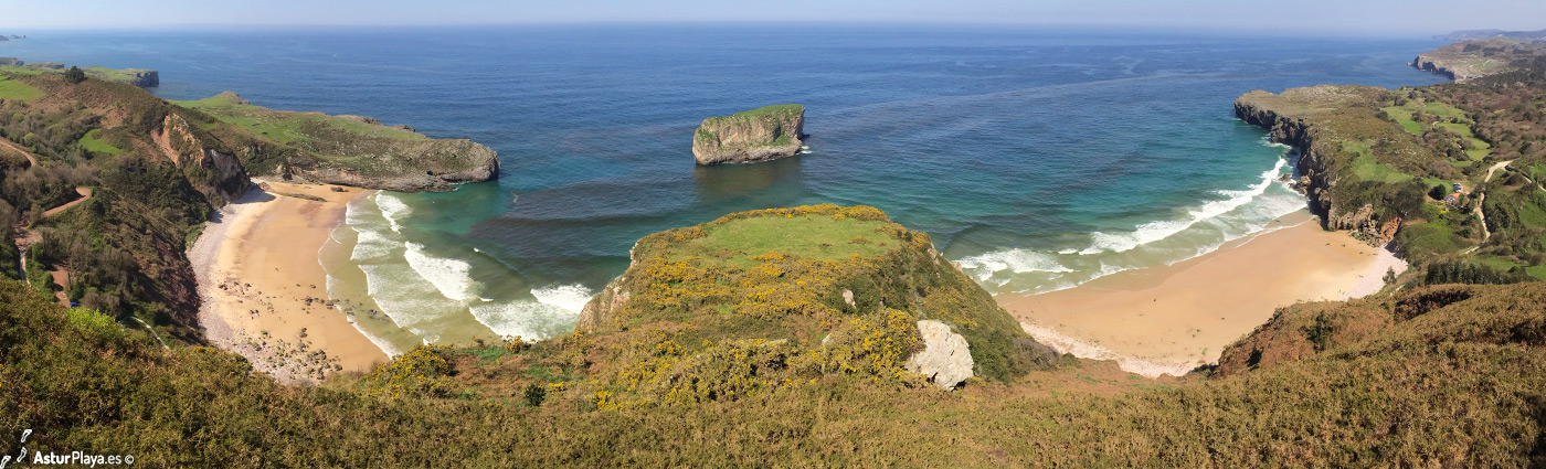 Playa de Ballota (oeste) y playa de Andrín (este) en Llanes,
