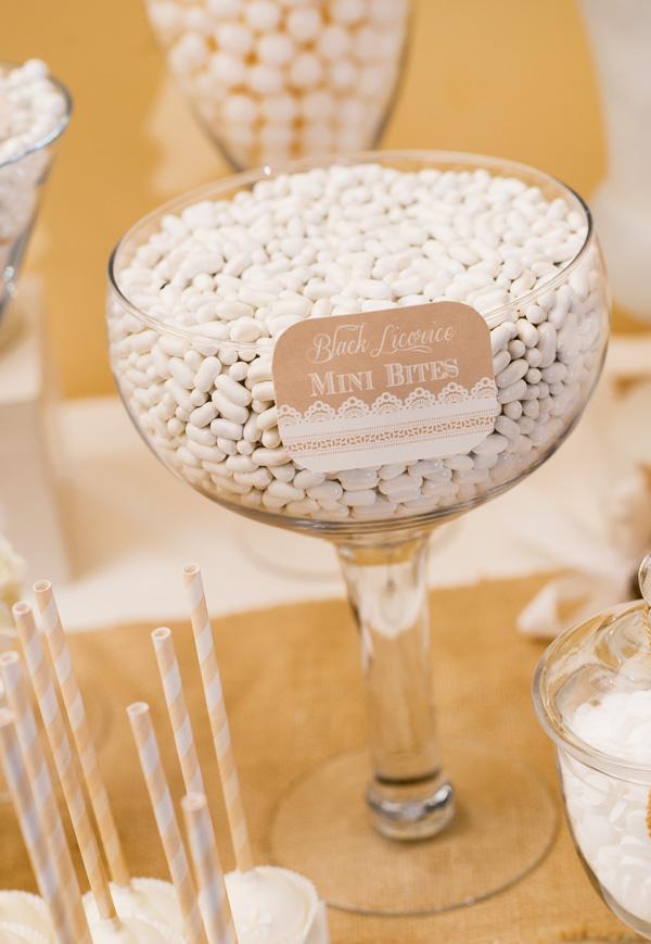 Burlap White Dessert Table
