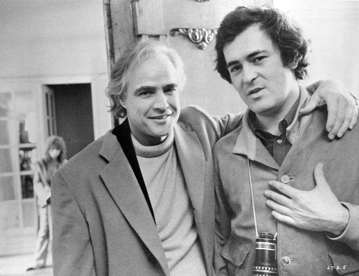 Marlon Brando And Director Bernardo Bertolucci On The Set Of Last Tango In Paris In The Background Maria Schneider 1972