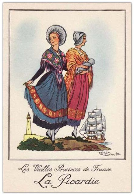Picardie illustration costume de région https://www.beqbe.com/costumes-traditionnels-de-france