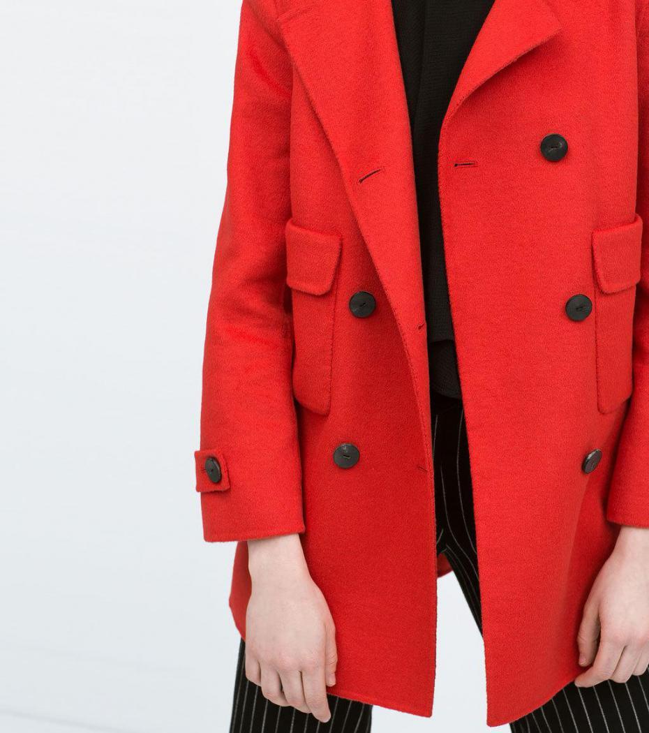 Abrigo De Pano Rojo De Zara