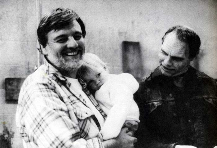 George A Romero With His Daughter And Sherman Howard As The Zombie Bub On Set Of Day Of The Dead