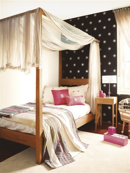 Dormitorio Con Pared Estrellada 439x584