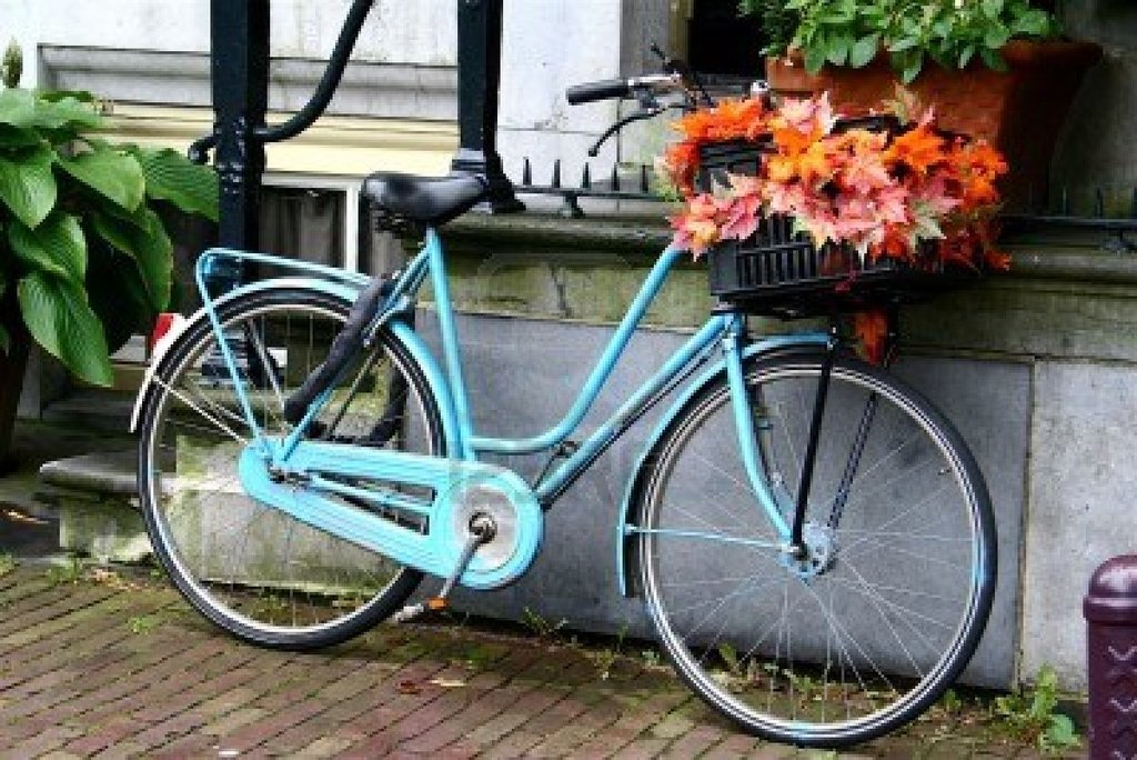 4792859 De Bicis En Amsterdam Con Hojas En Una Cesta