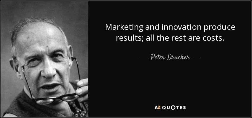 Quote Marketing And Innovation Produce Results All The Rest Are Costs Peter Drucker 85 53 57