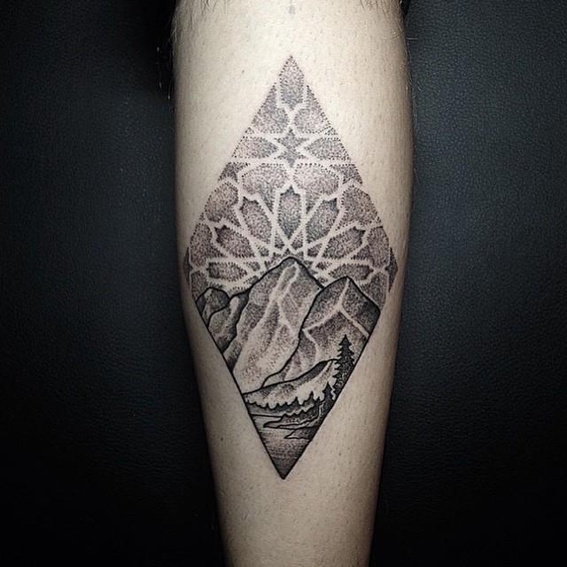 Mountain Scenery In Diamond Dotwork Tattoo
