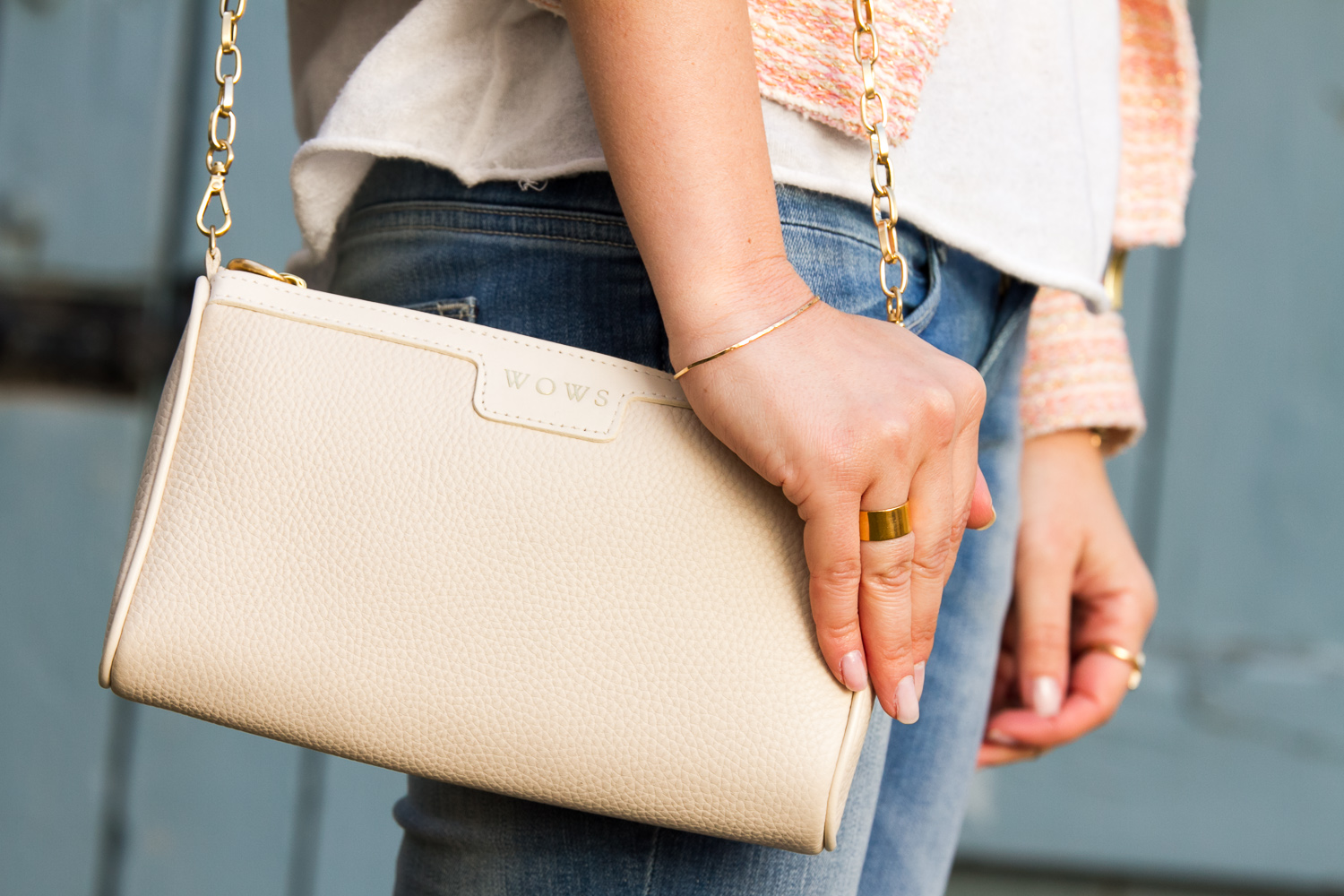 Personalized ivory leather mini bag by GIGI NEW YORK