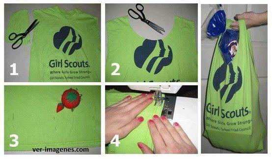 Otra manera de reciclar camisetas es convirtiéndolas en bols