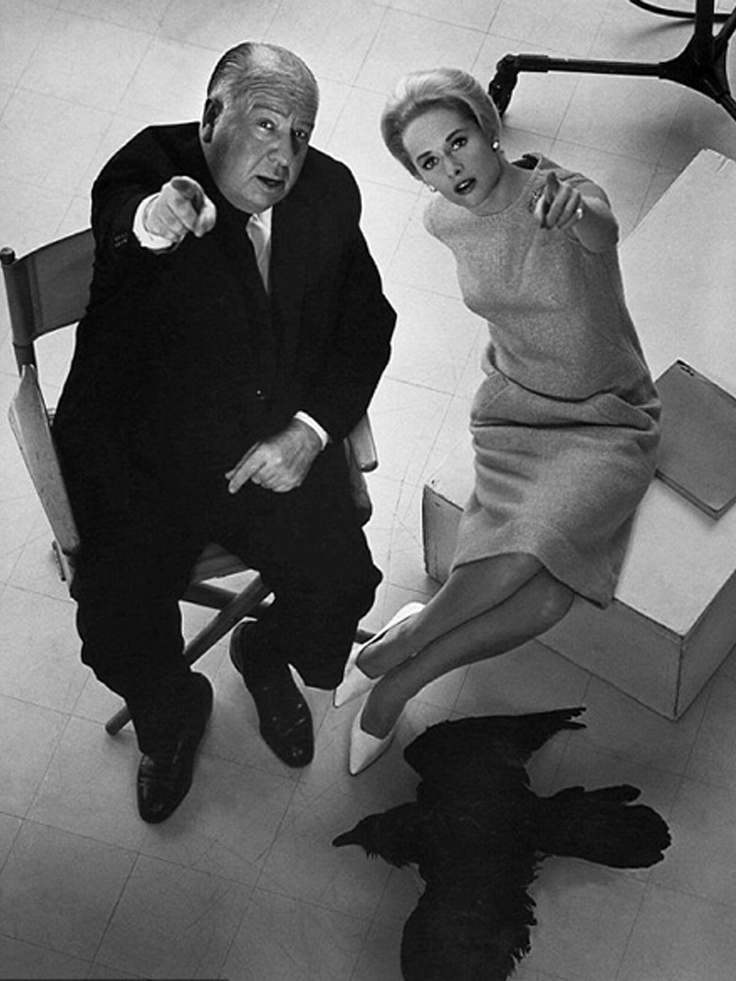 Hedren And Hitchcock On The Set Of The Birds Alfred Hitchcock 1963