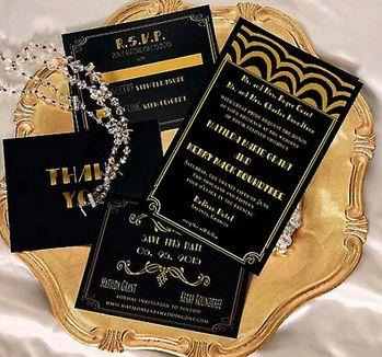 Gatsby Wedding Invitation Old Hollywood Gatsby Invitations Black Gold Art Deco Invitation Listing Is For Invitation Sample Only
