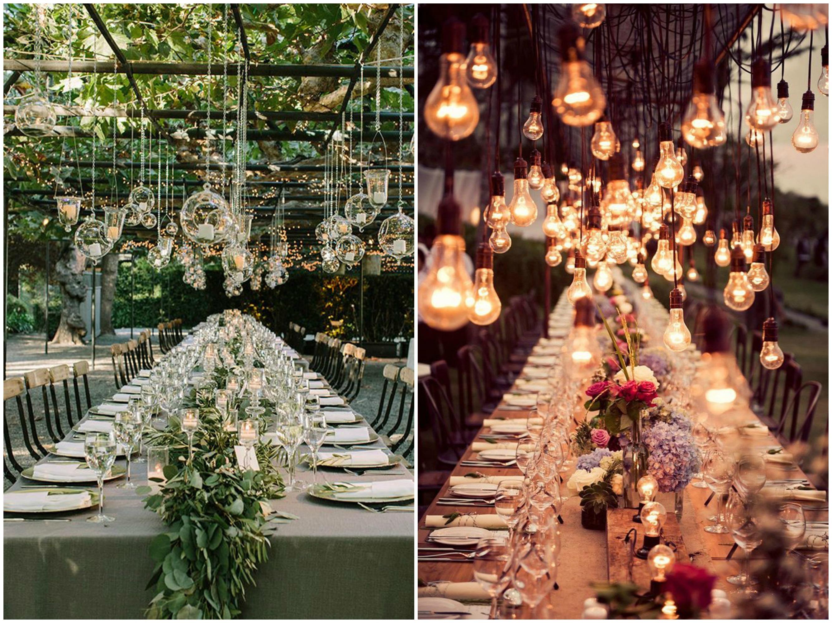 Las mesas y la iluminación