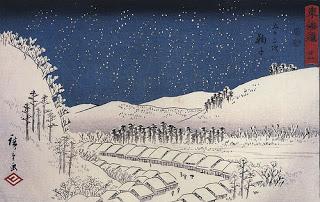 Utagawa Hiroshige Snow Falling On A Town