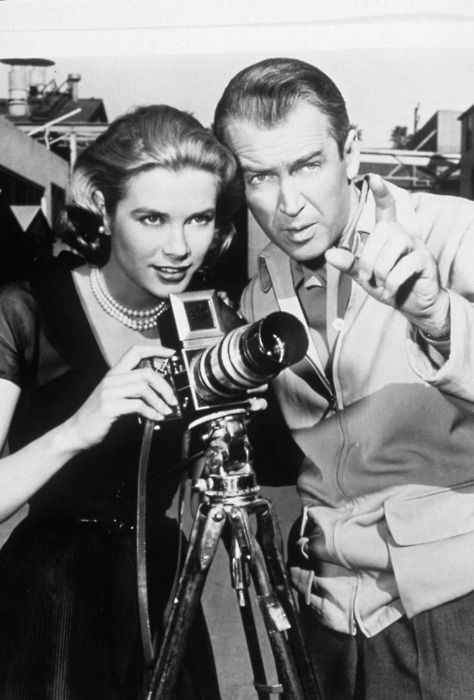 Grace Kelly And Jimmy Stewart On Set Of Rear Window Alfred Hitchcock 1954