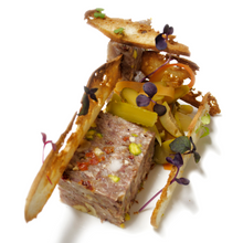 Head pork terrine with pickles: