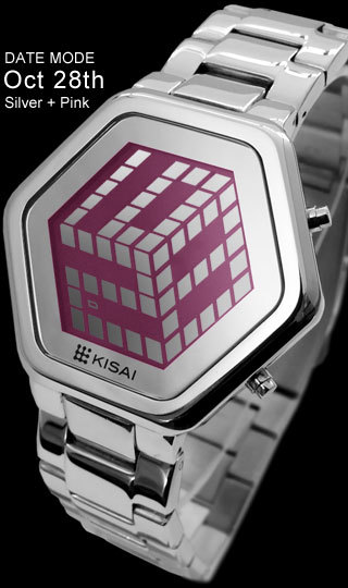 3d Unlimited Silver Pink Lcd Watch