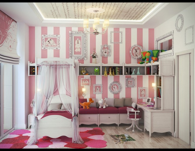 Pink White Stripe Wall Girls Bedroom 665x515