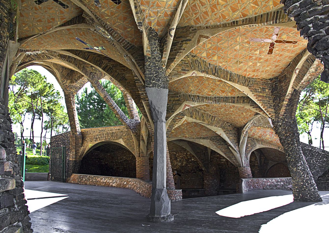 Guell Crypt Outside Sitting Area