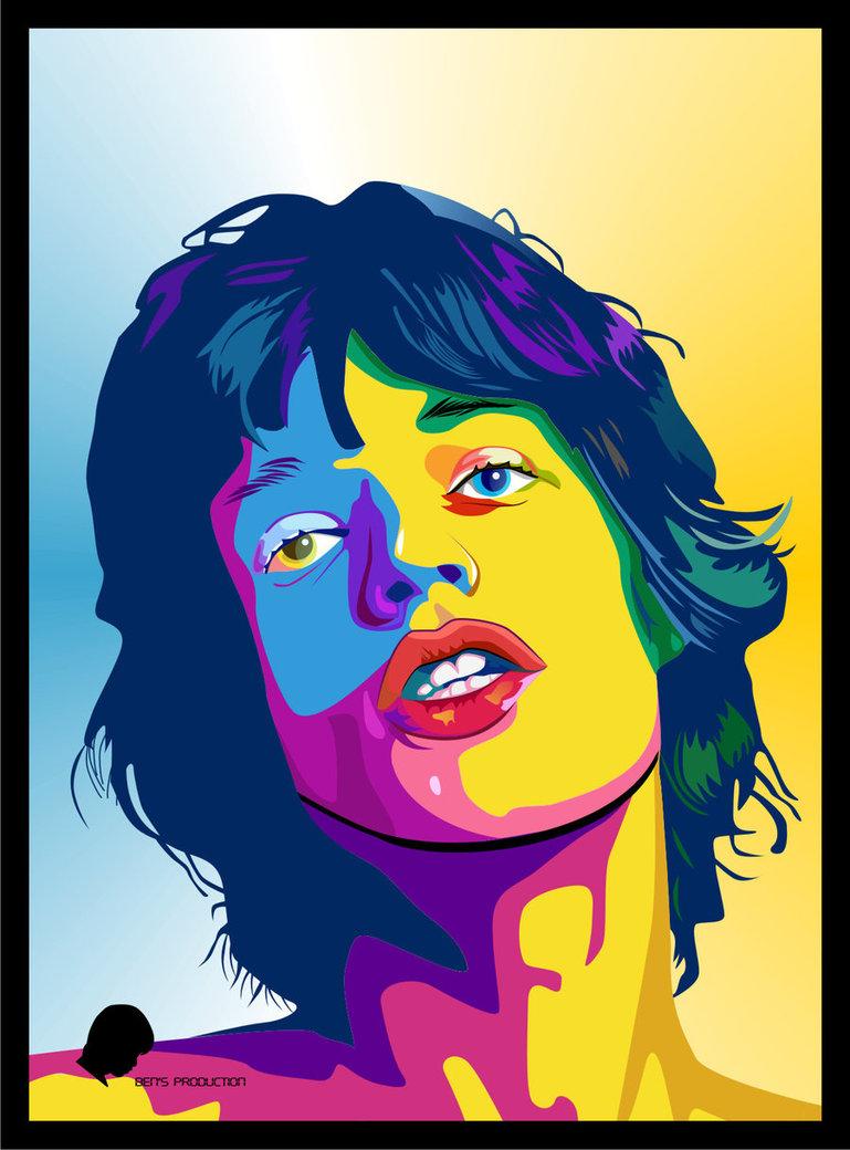 Vektor Pop Art Mick Jagger By Bennyartwork D5lvrnr