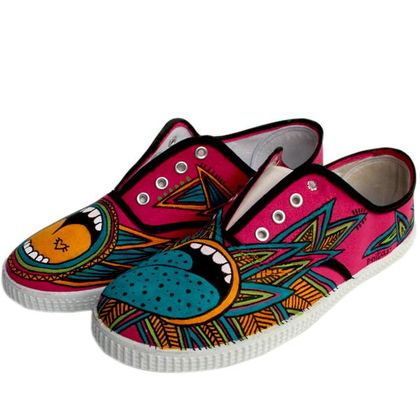 Bocas Locas Zapatillas Pintadasamano Sneakers Zapatillas Pnitas