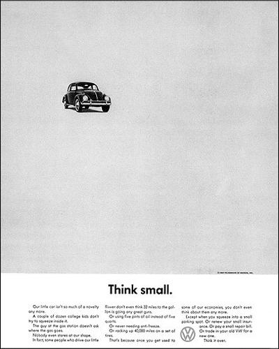 "2. Volkswagen, ""Think Small"". Doyle Dane Bernbach, 1959."